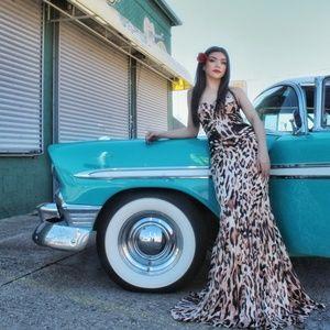 JOVANI Fierce LEOPARD Print Bustier Gown! #29169